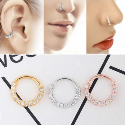 Nose Ring Ear Hoop Tragus Helix Cartilage Earrings Crystal Stainless Steel  H.dr