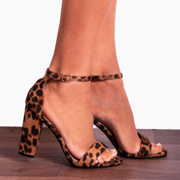 2019 úLtimo DiseñO Leopardo Animal Print Bloque Tacón Zapatos Sandalias Tacones Y Correa En El Tobillo Con Tiras-ver