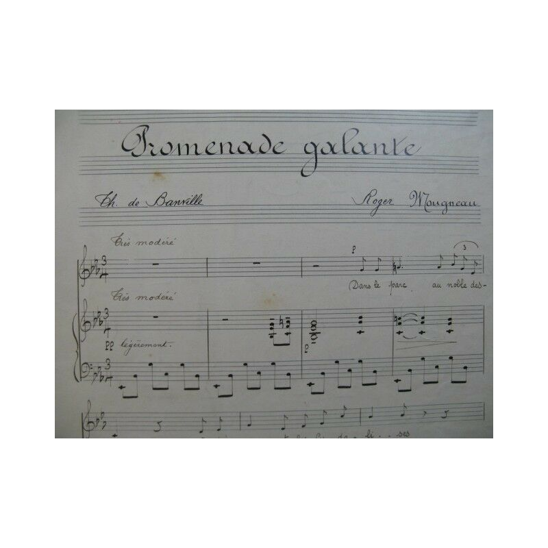 MOUGNEAU Roger Promenade Galante Manuscrit Chant Piano partition sheet music sco