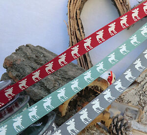1m-x-15mm-CHRISTMAS-RIBBON-RUSTIC-NORDIC-SCANDI-MOOSE-RED-GREEN-WHITE-BLACK-GREY