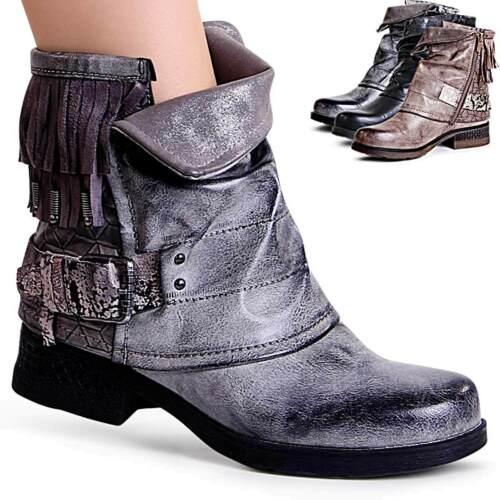 Damenschuhe Biker Worker Boots Stiefeletten Plateau Booties Fransen Trendy