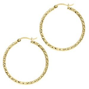 232d51ff892ec5 14K Yellow Gold Tubular Sparkle Weave Diamond-cut Hoop Hoops Earring ...