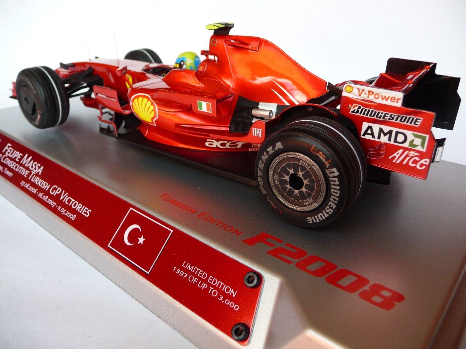 suministro directo de los fabricantes Hot Wheels 1 18 Ferrari F2008 triple ganar ganar ganar Estambul Matm 0550 Felipe Massa  Entrega directa y rápida de fábrica