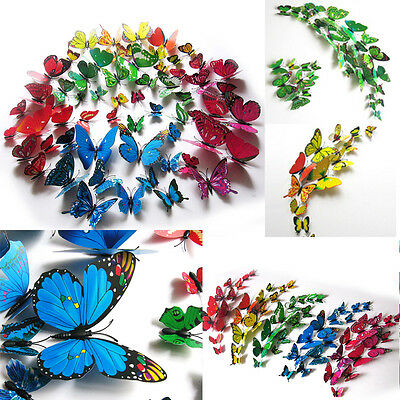 2016 Hot ! 12pcs 3D Butterfly Wall Stickers Home Room Decoration Art DIY Decal