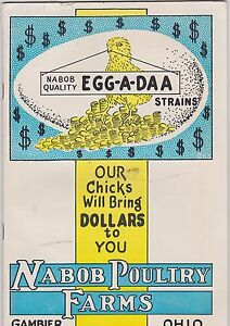 VINTAGE CATALOG #2701 - 1920s NABOB POULTRY FARMS - CHICKENS CATALOG