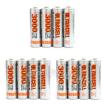 12 pcs AA 2A LR06 HR6 3000mAh 1.2V Ni-MH Rechargeable Battery UltraCell US Stock