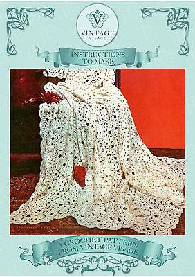 Vintage crochet pattern for beautiful irish crochet rose lace baby shawl, throw