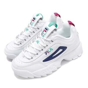Details about Fila Disruptor II Premium White Blue Green Pink Women Chunky  Platform Shoes