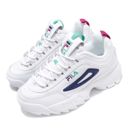 Fila Disruptor II Premium White Blue Green Pink Women Chunky Platform Shoes