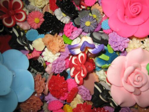 formes tailles Resin FLEURS//plymer//résine//15 pcs 10-25mm en différentes couleurs