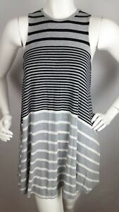 AMERICAN-EAGLE-OUTFITTERS-Women-039-s-Dress-XS-Gray-Black-Striped-Sleeveless