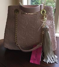 NWT Betsey Johnson Quilted Rose Chain Shopper Satchel Blush Pink