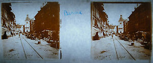 Platte Foto Stereoskopische Fotografie Bern Einer Rue Schweiz Um 1900 Schweiz