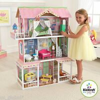 Barbie Wooden Dollhouse with Furniture Size Girls Playhouse Doll Play House NEW