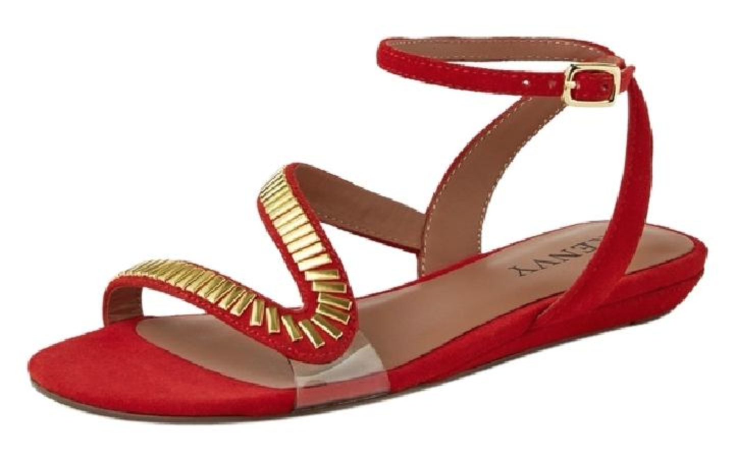 Renvy Sophie Embellished Embellished Embellished Low Wedge Taille rouge Sandals 7.5 NEW IN BOX Original  105 fc418b