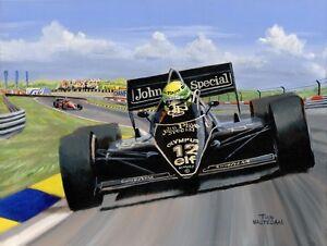 Print-on-canvas-JPS-Lotus-97T-12-Ayrton-Senna-Dutch-GP-1985-Toon-Nagtegaal-OE