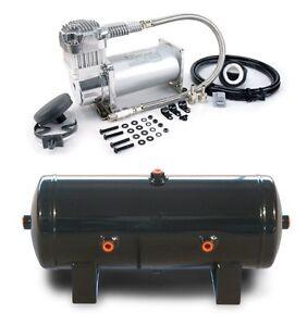 Viair-400C-Single-Chrome-Air-Compressor-w-2-Gallon-6-Ports-Air-Tank-Train-Horn