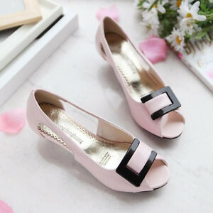 Women-039-s-Fashion-Peep-Toe-Pumps-Kitten-Mid-Heels-Sandals-Slip-On-Shoes-Sandals