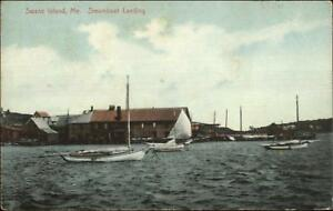 Swans-Swan-039-s-Island-ME-Steamboat-Ship-Landing-c1910-Postcard