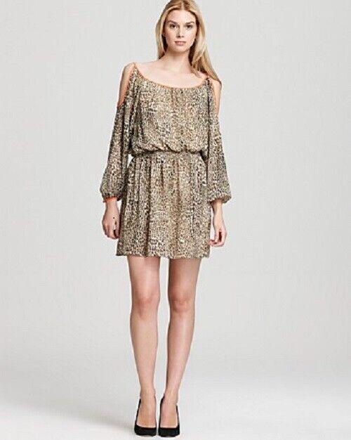VINCE CAMUTO Cold Shoulder Cheetah Print w Trim Dress ( LARGE ) NWT  129.00