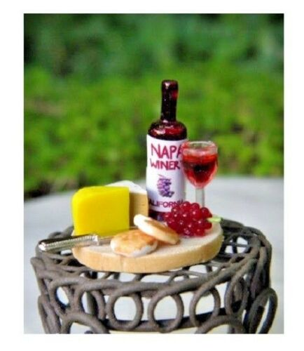 Miniature Dollhouse FAIRY GARDEN Accessories Tiny Wine /& Cheese Board  NEW