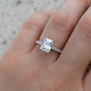 0.70 Ct Emerald Moissanite Engagement Wedding Ring 18K Solid White Gold Size 4 5