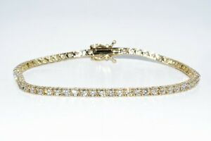 $7,000 3.35CT NATURAL ROUND CUT WHITE DIAMOND TENNIS BRACELET 14K YELLOW GOLD