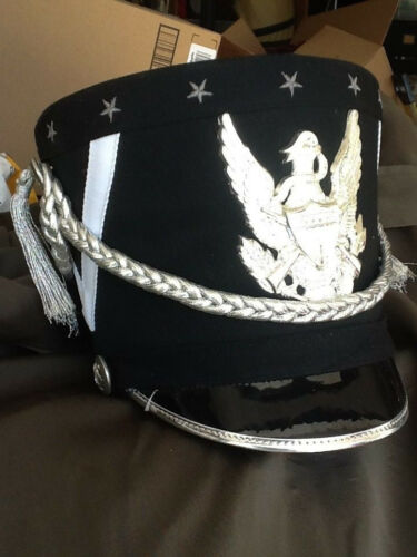 Fruhauf marching band hats-Black //white with silver look braid and Eagle Emblem