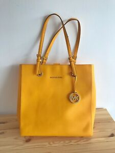 Details about MICHAEL KORS JET SET TRAVEL TOTE BAG Vintage yellow large saffiano Leather