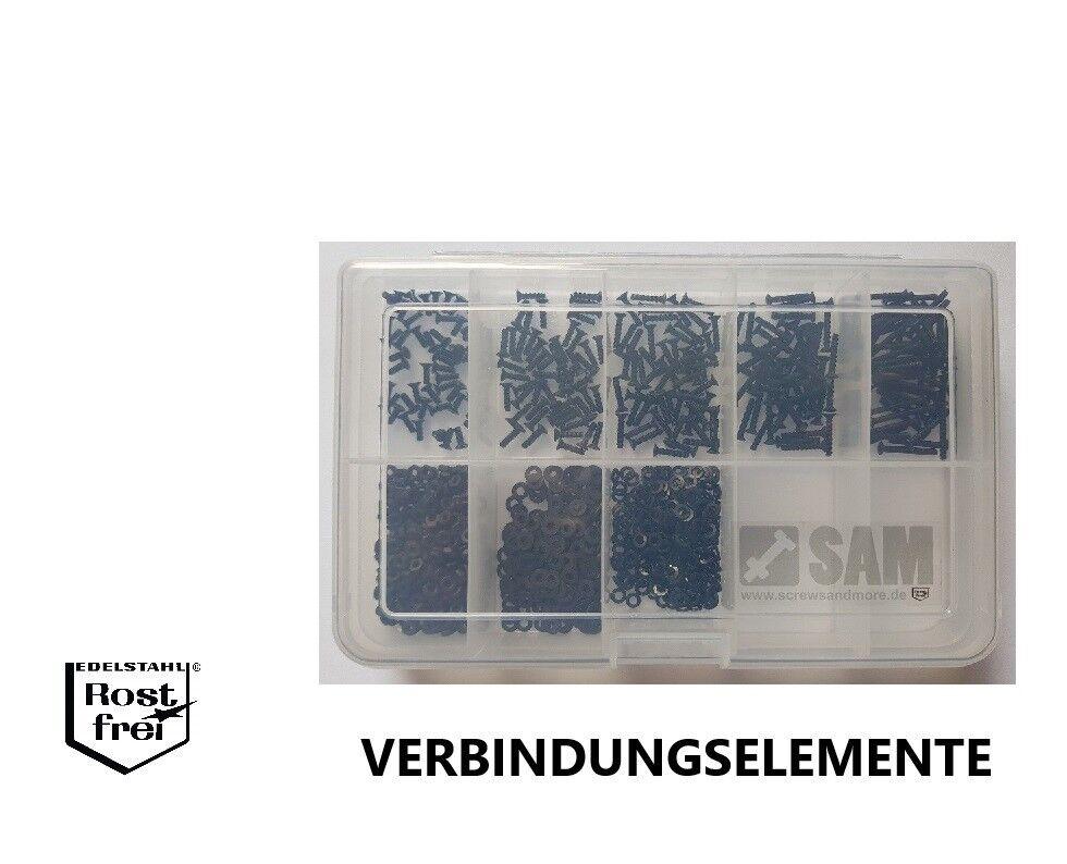DIN 965 Senkkopf TORX Sortiment Set 1000 Teile black EDELSTAHL A2 M2
