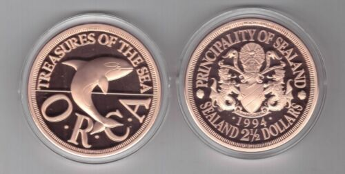 BRONZE PROOF 2-1//2 DOLLAR COIN 1994 YEAR ORCA WHALE X#11 SEALAND PRINCIPALITY