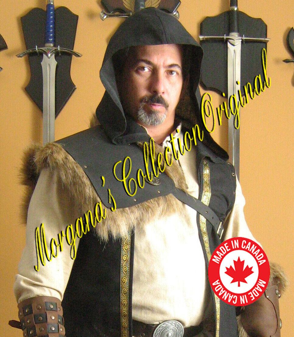 Medieval Gladiator Assassin Single Leather Shoulder Armor with Fur (Plain)