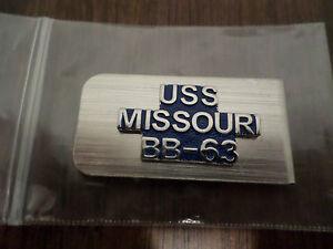 U.S MILITARY NAVY BATTLESHIP U.S.S MISSOURI BB-63 METAL MONEY CLIP U.S.A MADE
