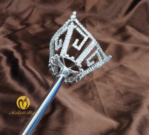Unisex Crown Scepters Wand Clear Crystal Parade Pageant Costumes Party Sceptre