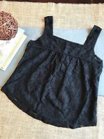 Midnight Black Lace Sleeveless Top, Misses Size Xs, Flirty & Cute