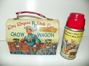 ROY ROGERS & DALE EVANS CHOW WAGON LUNCHBOX - 1950'S w/THERMOS