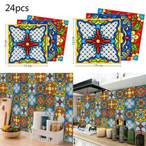 10//24pcs Kitchen Tile Stickers Bathroom Mosaic Sticker Wall Decors Self-adhesive