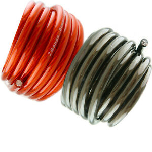 50' ft 2 Gauge 25' RED and 25' Black Car Audio Power Ground Wire Cable Feet AWG