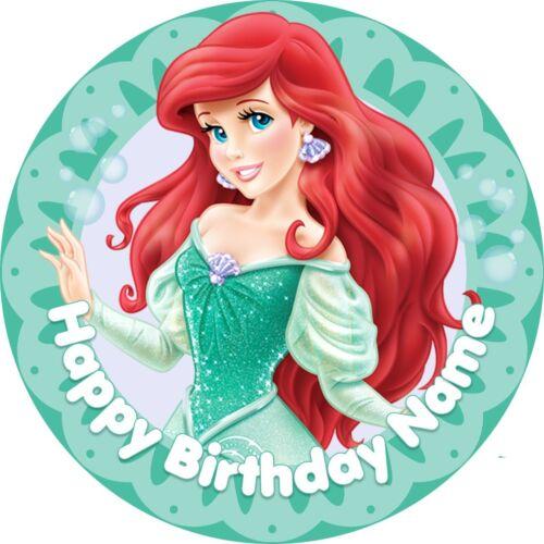 "EDIBLE The Little Mermaid Ariel Princess Cake Topper Wafer Paper 7.5/"" uncut"
