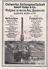 GYÖRSZIGET BUDAPEST, Werbung 1916, Oelwerke AG Adolf Kohn & Co. Öl