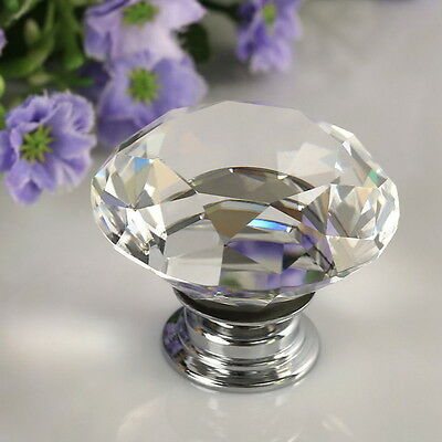 30mm Diamond Clear Crystal Glass Door Pull Drawer Knob Handle Cabinet Furniture@