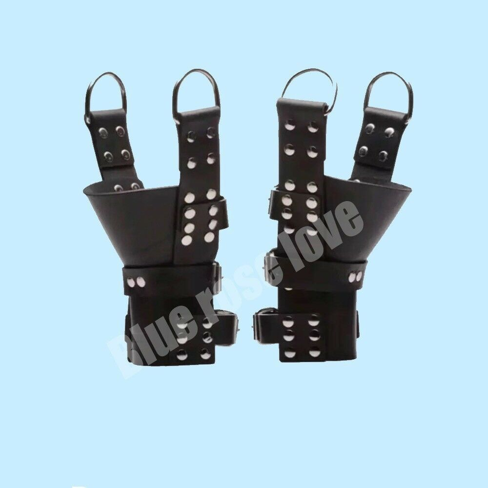 Heavy Duty Pure Chrome Leather ANKLE   BOOT Suspension Cuffs Bondage.