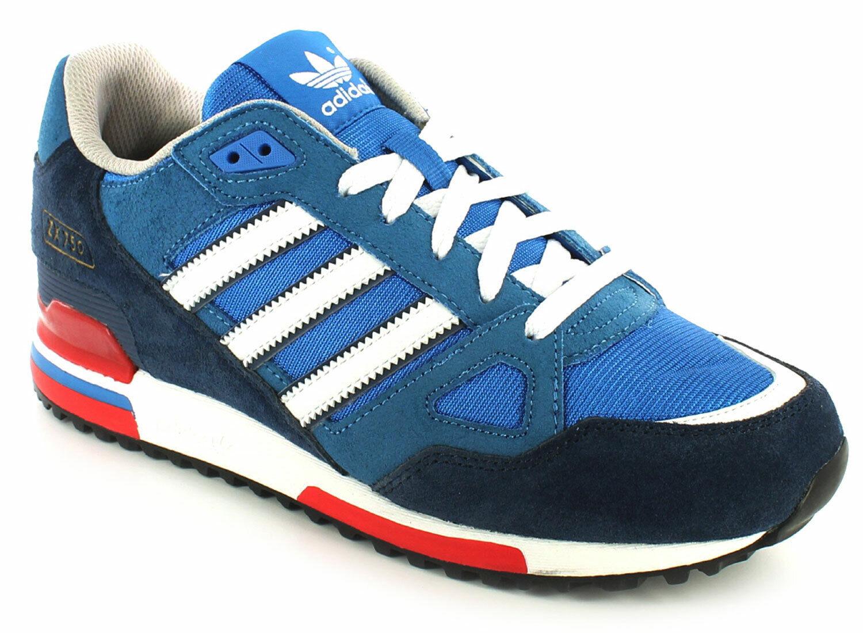 Neu Herren Herren Blau Weiß Adidas Leder Leichte Laufschuhe UK Größe