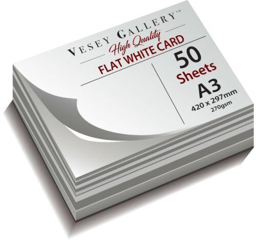 tamaño A3 a A1. peso pesado Tarjeta Blanco 270gsm suave Flat Blanco Paquetes De 50