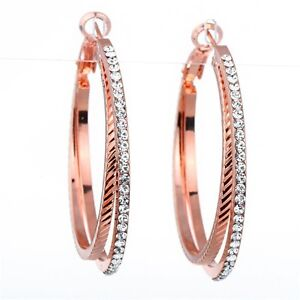 Image is loading Sparkly-18K-Rose-Gold-Plated-Double-Hoop-Earrings- 5d7deb8affb9
