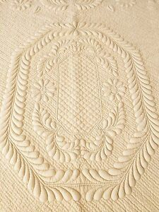 Flora New Hand Quilted Trapunto King Size 100 Percent