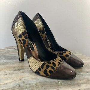 ce339e5abfd Image is loading Beverly-Feldman-Leopard-patchwork-Leather-Pumps-shoe-Sz-