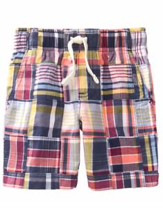 NWT Gymboree Boy Blue Plaid Patchwork Shorts Size 4t