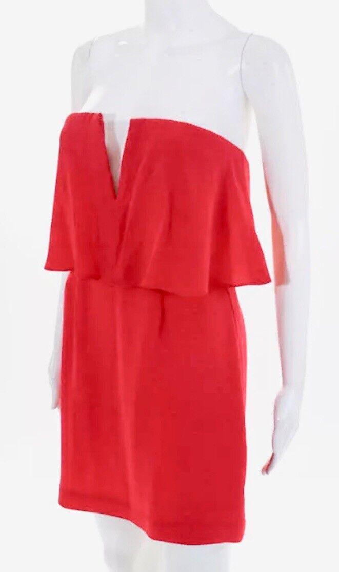 BCBGMAXAZRIA red coral strapless dress in in in size 04. 207a55