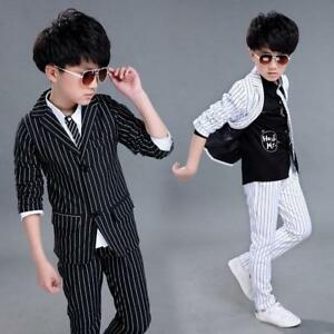 1691214b07d Boys Jacket Pants Stripe Suits Kids Formal Party Wedding Page Boy ...
